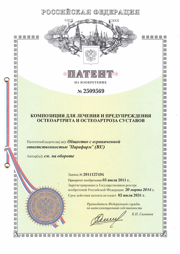 патент 2509569 композиция для лечения и предупреждения остеоартрита и остеоартроза суставов