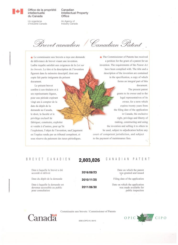 патент Канады 2803826