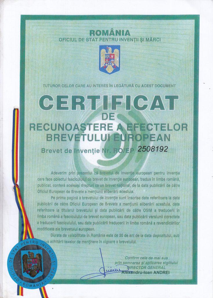 Румынский патент на мемо-вит 2508192