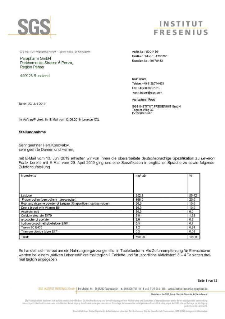 Результаты экспертизы Института Фрезениуса (Германия) по Леветон Форте
